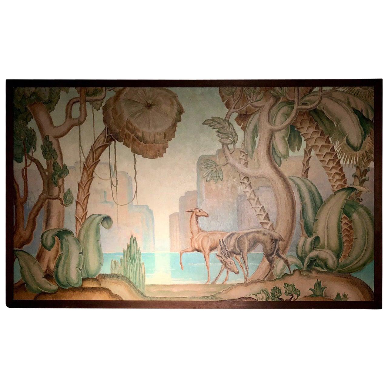 Art Deco Original Painting Mural in the Style of Jean Dupas