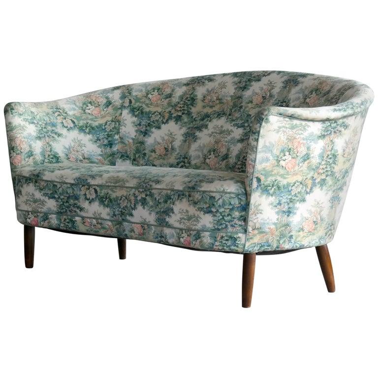 Carl Malmsten Loveseat or Small Sofa for O.H. Sjogren Scandinavian Midcentury
