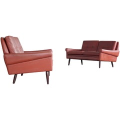 Pair of Sven Skipper 1960s Loveseats or Sofas in Reddish Brown Leather and Teak