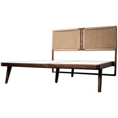 Bed, Queen, Danish Cord, Woven Headboard, Mid-Century Modern Style, Hardwood