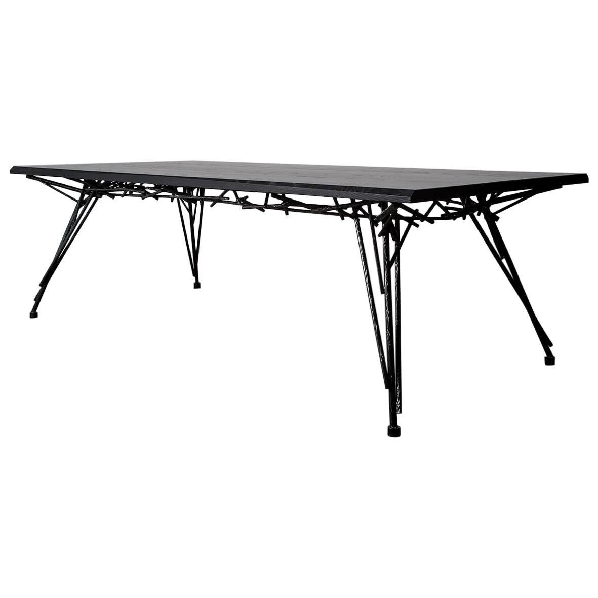 Table, Dining, Black, Ebonized Hardwood, Steel, Modern, Custom, Birdsnest Table