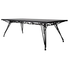 Modern Birdsnest Table Black Ebonized Hardwood and Powder Coated Steel