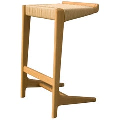 Mid-Century Modern Rian Cantilever Barstool, Woven Danish Cord Seat Deck
