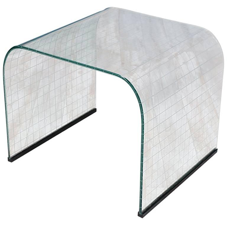 Angelo Cortesi Waterfall Glass Side Table for Fiam of Italy
