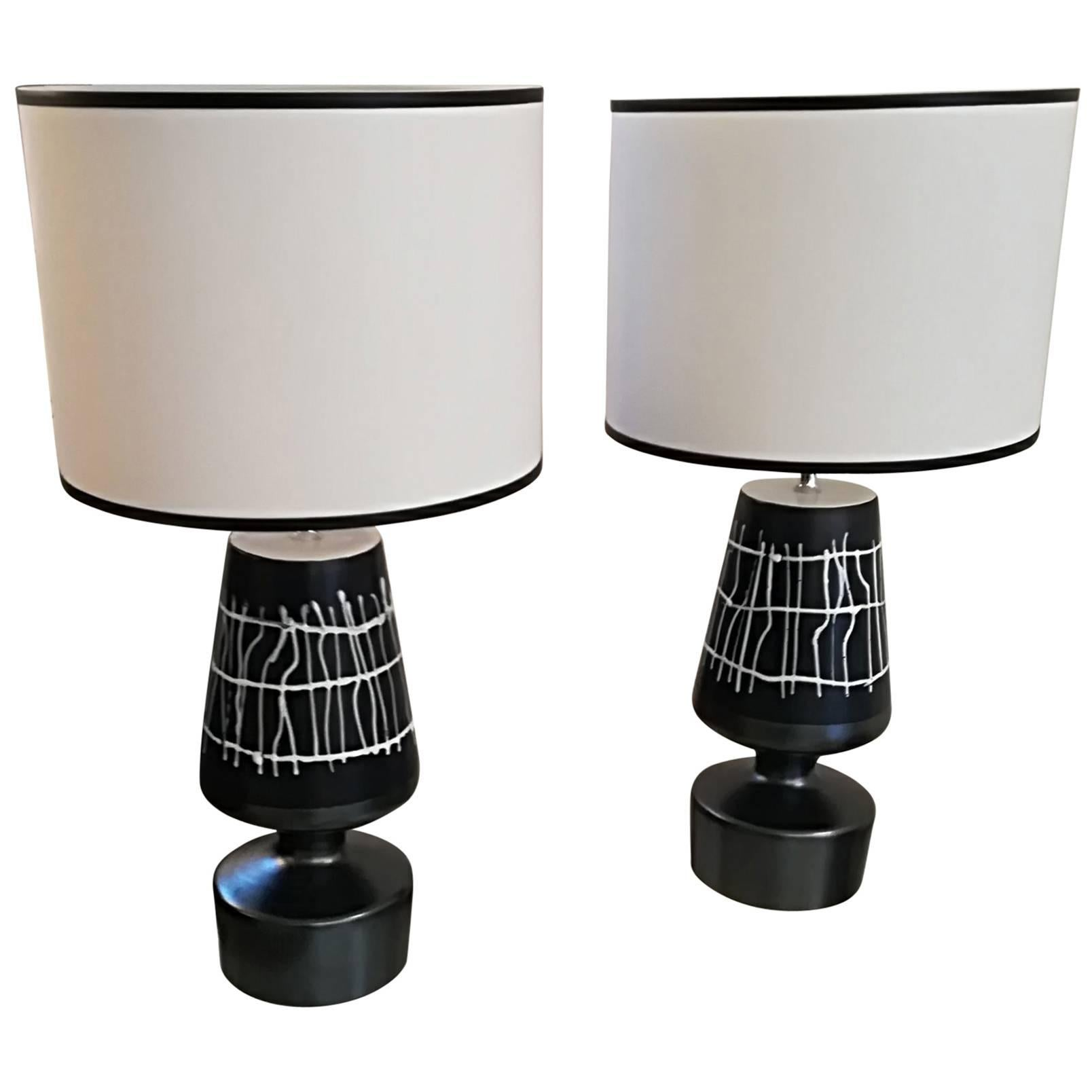 Pair of French Ceramic Table Lamps