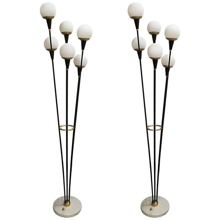 Pair of Italian Six Lights Floor Lamps