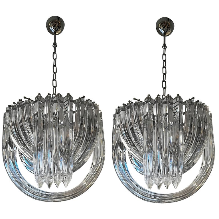 Pair of Murano Curved Crystal Chandelier