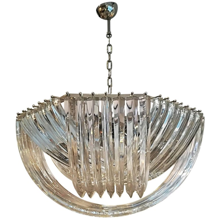Gorgeous Murano Curved Crystal Chandelier