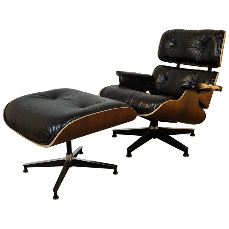 Eames Lounge Chair and Ottoman, Rosewood, Crocodile, Herman Miller