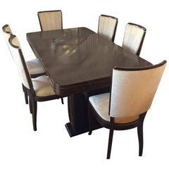 Art Deco French Macassar Dining Suite Including Extensions
