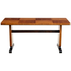 Mid-20th Century Art Deco Influenced Inlaid Birch Coffee Table
