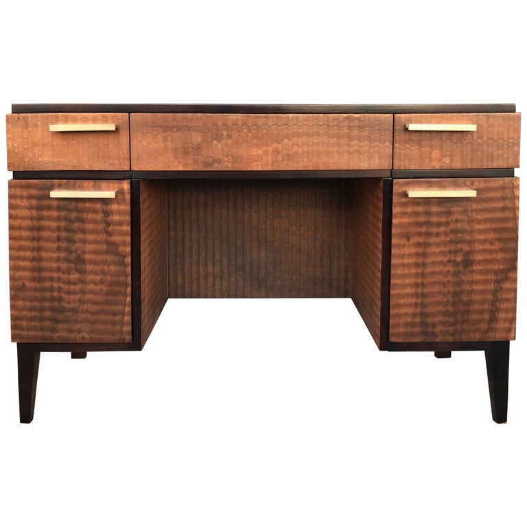 Donald Deskey for Amodec Art Deco Desk with Exotic Wood Finish
