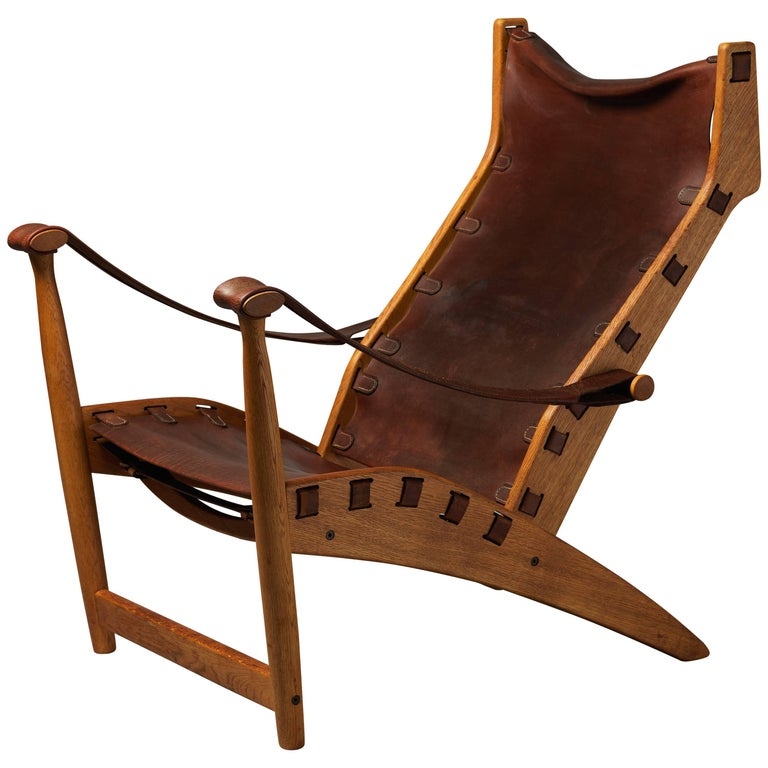 Mogens Voltelen, Copenhagen Lounge Chair II, Oak, Natural Brown Leather, 1960