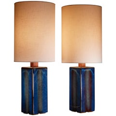 Pair of Ceramic Table Lamps by Soholm, Denmark, 1960s
