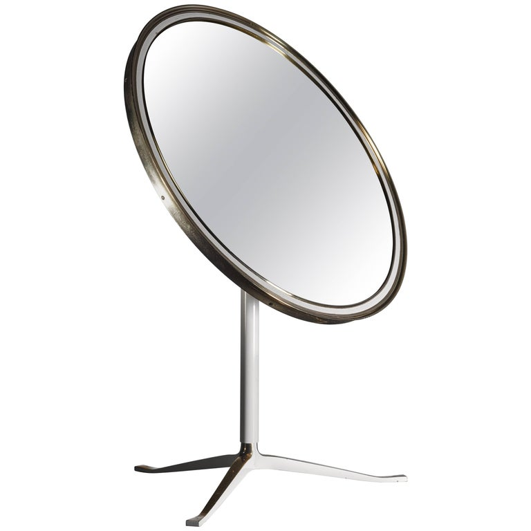 Round Brass and White Console or Vanity Mirror, Germany, 1950s For Sale