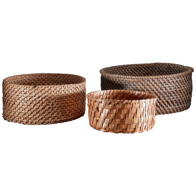 Set of Three Woven Folk Art Baskets, Sweden, 19th Century