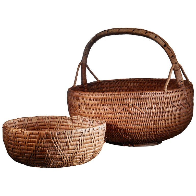 Pair of Swedish Woven Folk Art Baskets, 19th Century