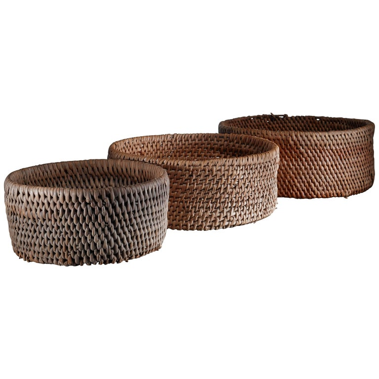 Set of Three Woven Folk Art Baskets, Sweden For Sale
