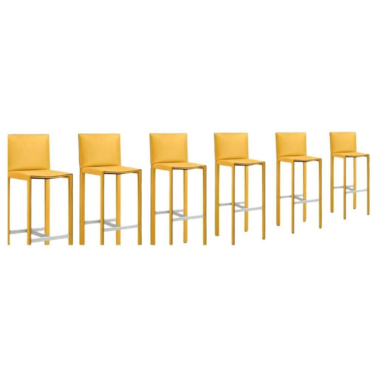 Modern Italian Leather Bar or Counter Stool