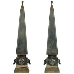 Pair of Large Mid Century Portuguese Pewter Obelisk Models with Boar's Heads