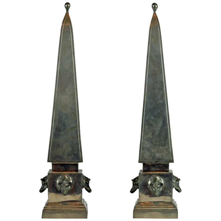 Pair of Large Mid Century Portuguese Pewter Obelisk Models with Boar's Heads For Sale