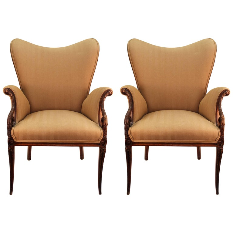 Neoclassical Style Grosfeld House Butterfly Armchairs For Sale