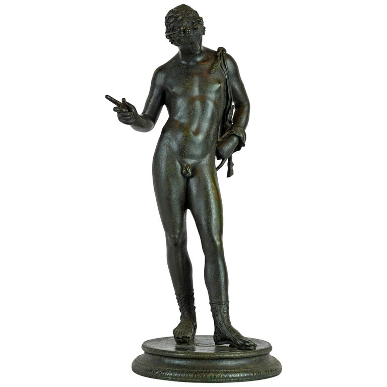 Italian 19th Century Bronze Statue of Antinous with Goatskin after the Antique For Sale
