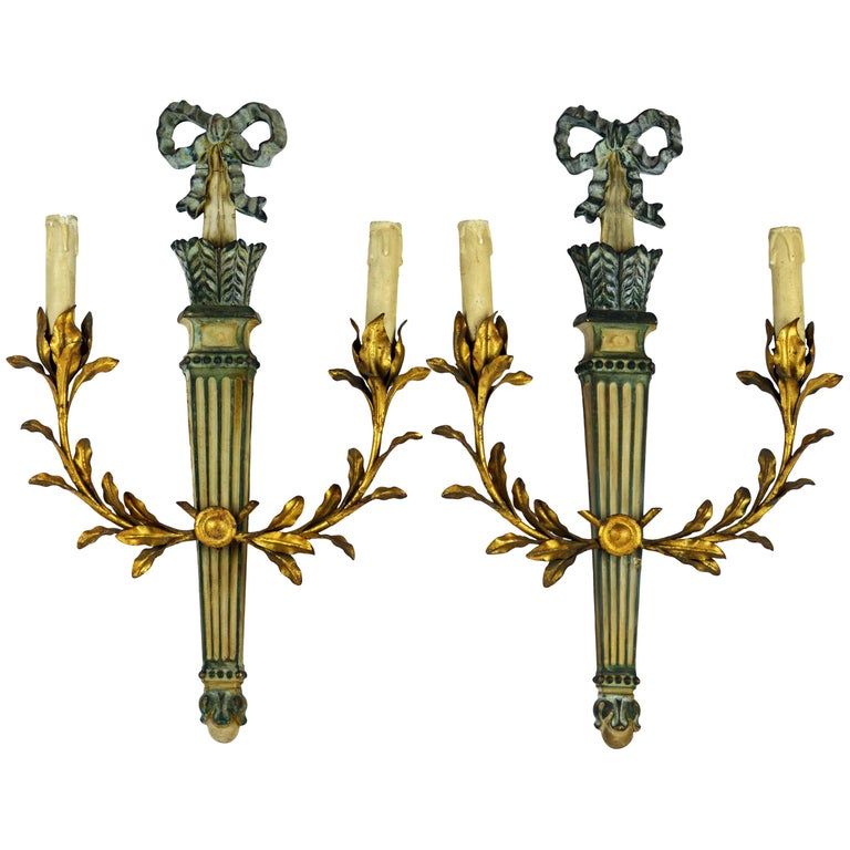 Pair of Midcentury Palladio Neoclassical Style Wood and Gilt Metal Wall Sconces