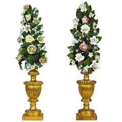 Pair of  Italian Altar Gilt Wood Urns with Painted Tole Flower Bouquets