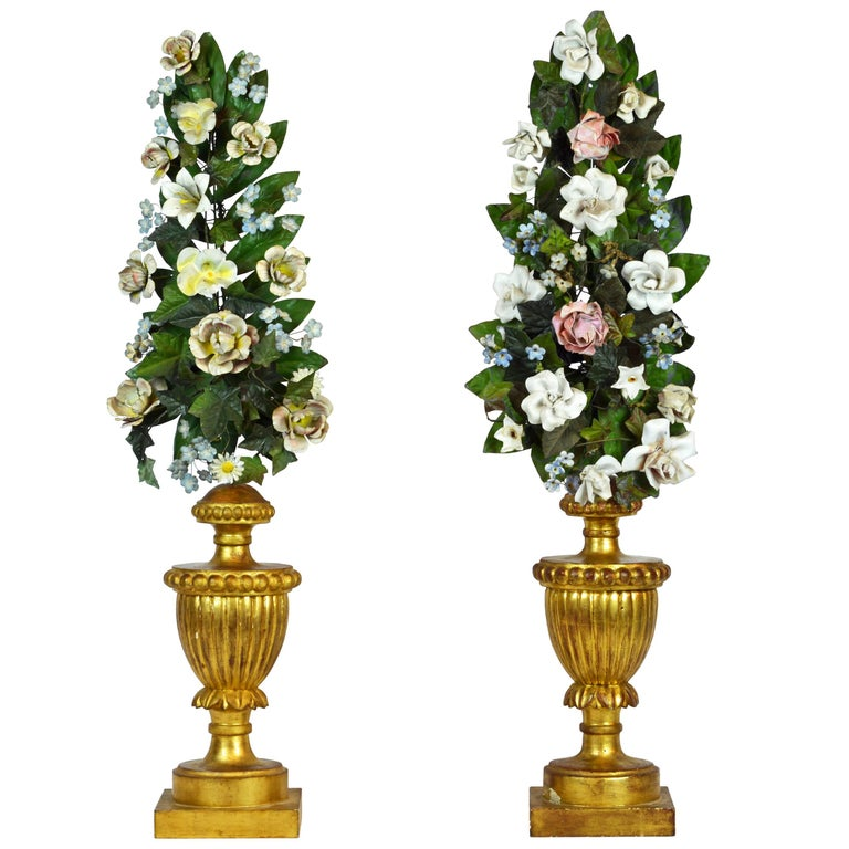 Pair of  Italian Altar Gilt Wood Urns with Painted Tole Flower Bouquets For Sale