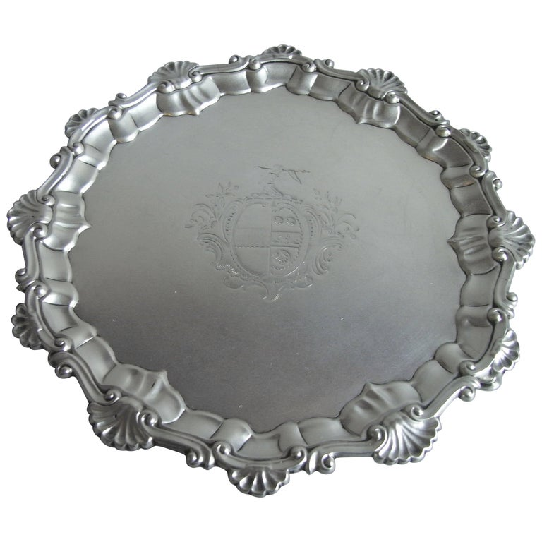 Early George III Salver Made in London in 1761 by Ebenezer Coker For Sale
