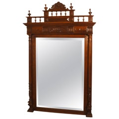 Large French Carved Oak Wall Mirror