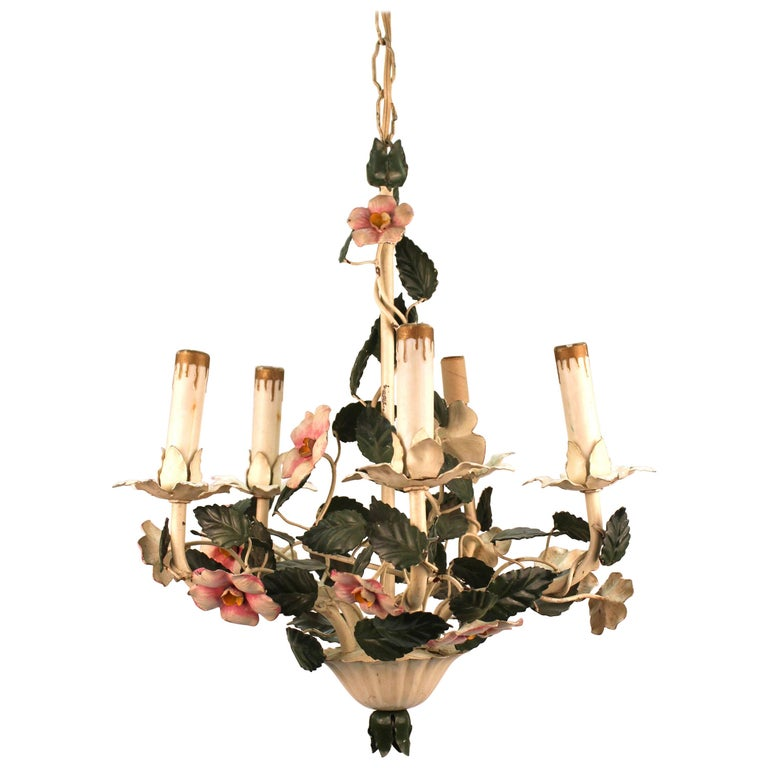 Mid Century Toleware Floral Chandelier For Sale At 1stdibs