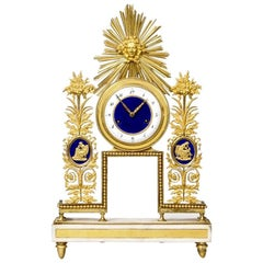 Period French Directoire Ormolu and Enamel Clock with Sunburst Motif