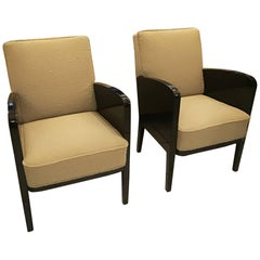 Damon and Berteaux Art Deco Pair of Armchairs, French, circa 1930