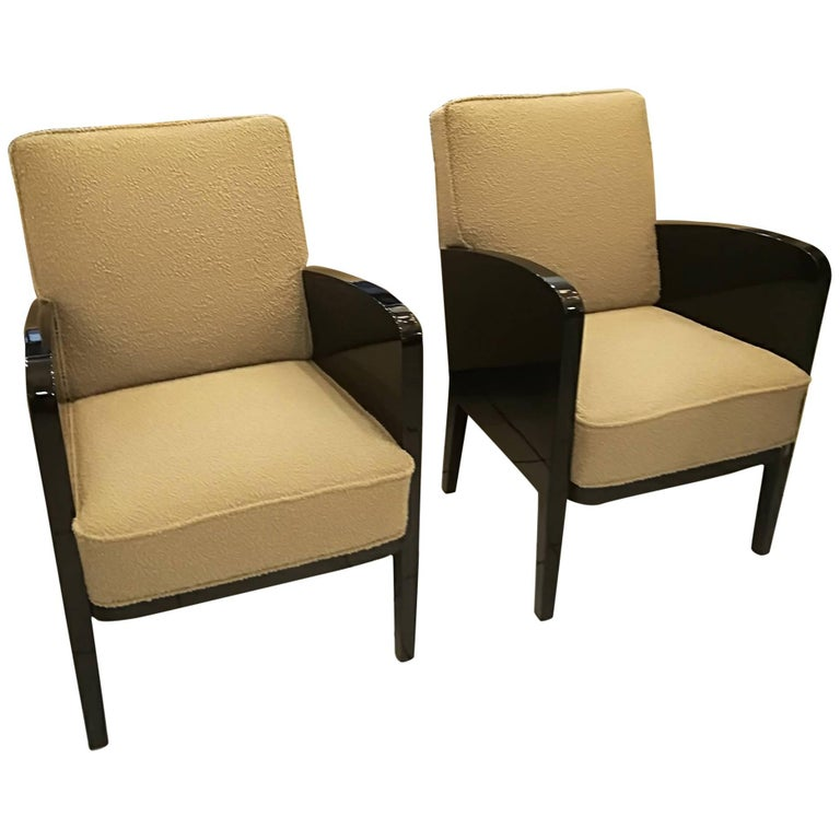 Damon and Berteaux Art Deco Pair of Armchairs, French, circa 1930 For Sale