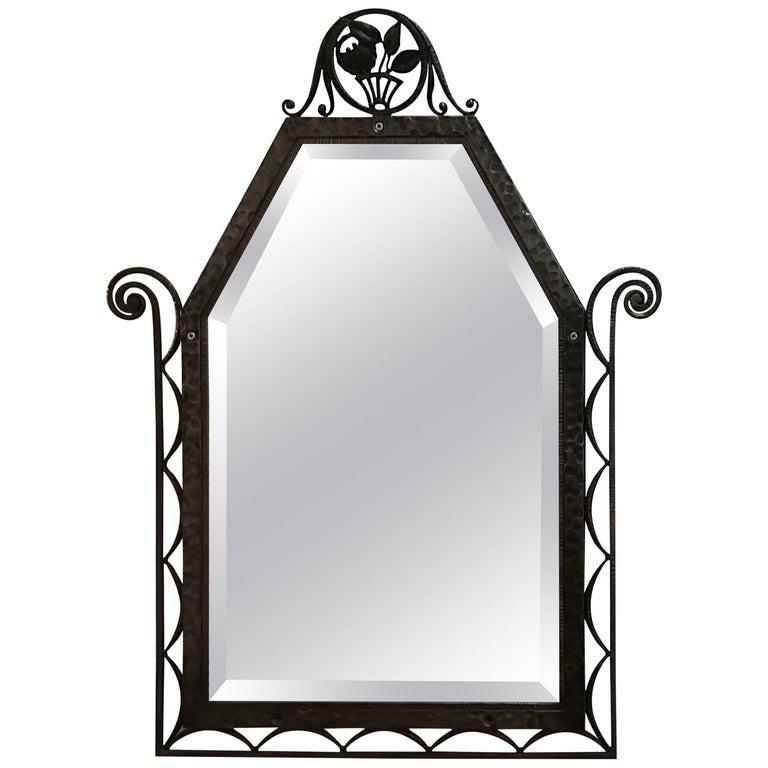 Art Deco Wrought Iron Wall Mirror, circa 1930