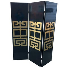 Three Panels Lacquered and Gilt Wood Screen, circa 1970