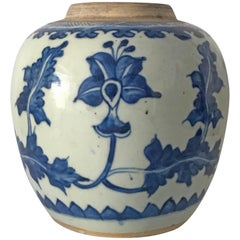 Chinese Blue and White 17th c Kangxi Jar 1662-1722