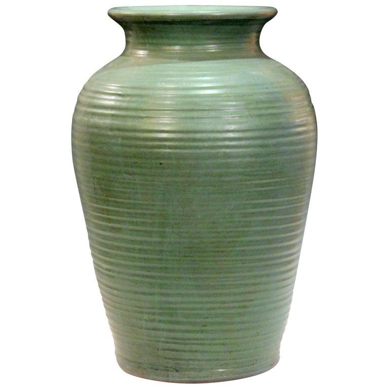 Large Vintage Matt Green Zanesville Norwalk Old Pot Shop Art Pottery Vase