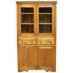 English or Scottish Shallow Cupboard in Pine with Glass Doors in Upper Cabinet
