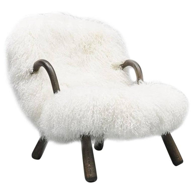 Iconic Clam Chair by Phillip Arctander Long White Hair Sheepskin and Wood, 1940