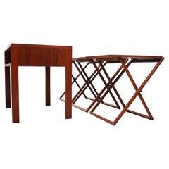 Nest of Three Teak Folding Tables by Illum Wikkelsø
