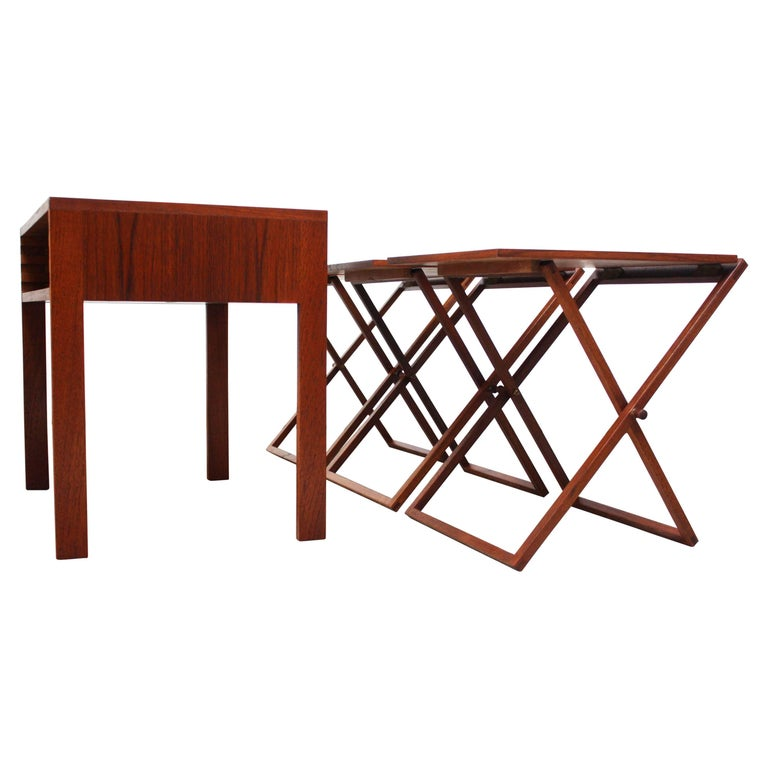 Nest of Three Teak Folding Tables by Illum Wikkelsø