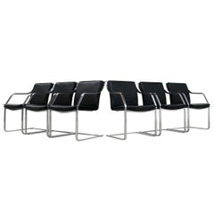 Set of 12 Black Leather Armchairs Design Walter Knoll