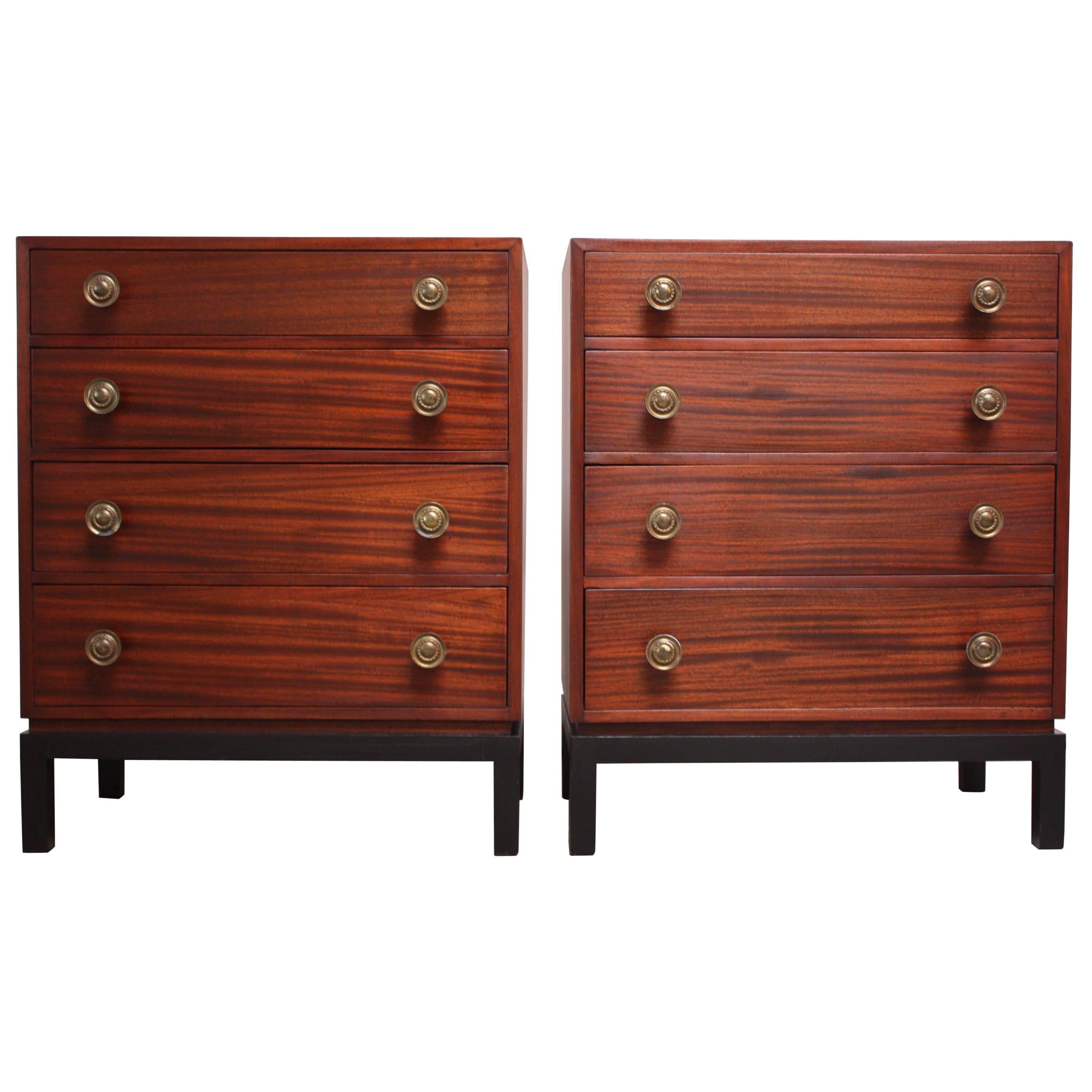 Pair of Midcentury Stained Mahogany Chest of Drawers