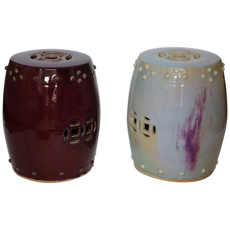 Pair Of 1970s Blue Purple Ceramic Stools For Sale At 1stdibs
