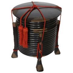 Japanese Meiji Black Lacquer Hokkai Box