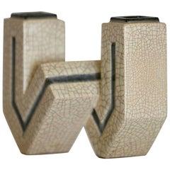 "Rare Small ""W"" Ceramic Vase by Marcel Guillard, France 1930"