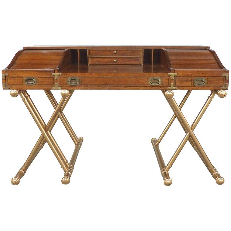 Campaign Style Desk with Tambour Doors on Crossed Wood Bases by John Van Koert